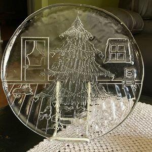 Italian Crystal Christmas Serving Platter